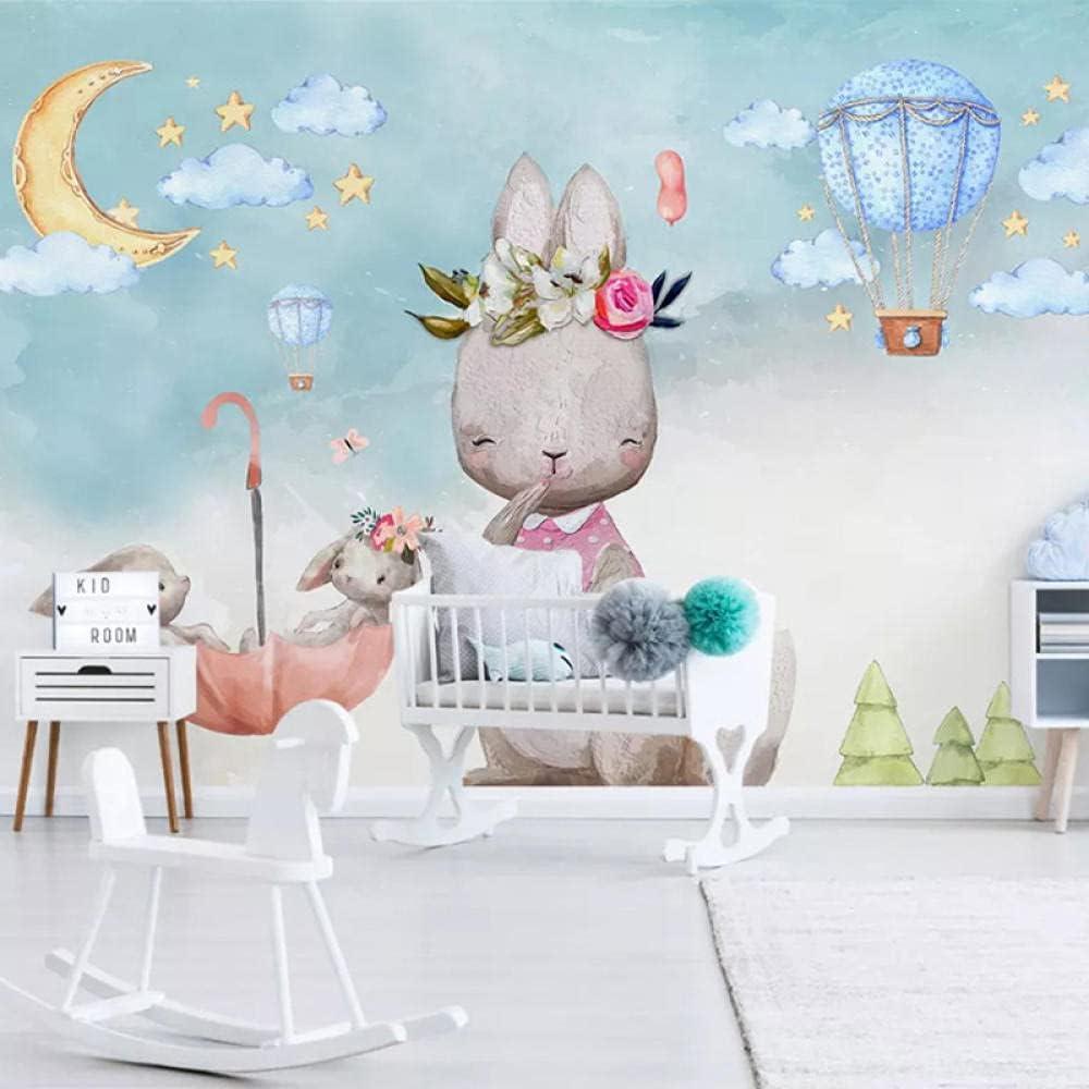 Direct store Custom Wall Mural 3D Max 45% OFF Hand Children Painted Balloon Bunny Cartoon