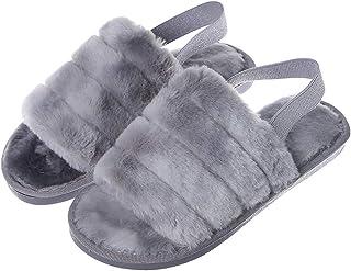 Zapatillas De Casa para Mujer Zapatillas De Piel Sintética con Punta Abierta De Espuma Viscoelástica Zapatillas Mullidas p...