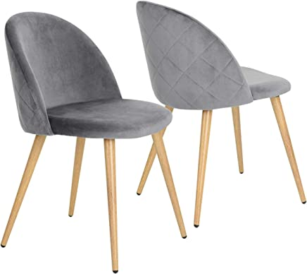 1f8db8ae8c Coavas Dining Chairs Soft Velvet Kitchen Chairs Living Room Lounge Leisure  Chairs with Wooden Style Metal