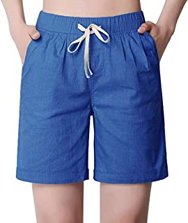 Gooket Women's Modest Loose Elastic Waisted Bermuda Drawstring Casual Shorts