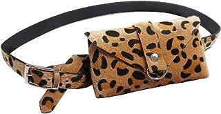 Leather Belt Bag Women's Stylish Envelo Fanny Pack Waist Bag Phone Purse Trendy Designer Belt Bag Beige Leopard