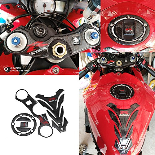 PRO-KODASKIN Real Carbon GSXR Gas Cap Tank Pad Triple Tree Front End Upper Top Clamp Decal Stickers Tank Pad Protector for GSXR 600 GSXR 750 GSXR 1000 K6 K7 K8 K9 L1 2006-2017