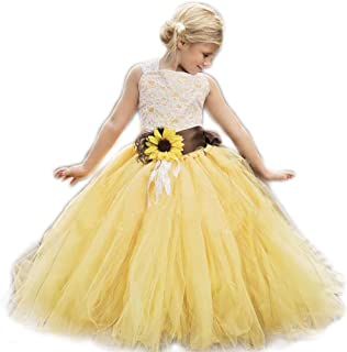 AnnaLin Yellow Tulle with Sunflower Belt Flower Girl Dress for Wedding Party Kids Prom Dress