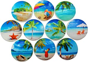 Set of 10 Tropical Beach Wood Cabinet Knobs