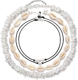 4 Pcs Shell Choker Necklace 14 16 18 Inch Seashell Short Hawaiian Summer Beach Bohemia Jewelry Set Cowrie Beads Cord Pearls Pendants for Women Girls Adjustable Necklaces