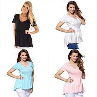 Festnight Women T-shirt,Women Casual Solid T-shirt Ruffle Round Neck Short Sleeve Summer Large Size Tees Top Loose Blouse