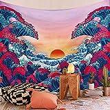 Rcbmn arazzo con onde dell¡¯oceano e tramonto in 3D, arazzo giapponese per pareti, Onda oceano., 51.2' x 59.1'¡