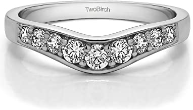 Diamonds (G-H,I1-I2) Graduated Contour Ring In Sterling Silver(0.35Ct) Size 3 To 15 in 1/4 Size Interval