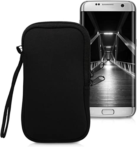 """kwmobile Neoprene Phone Pouch Size L - 6.5"""" - Universal Cell Sleeve Mobile Bag with Zipper, Wrist Strap - Black"""