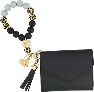 VIQWYIC Keychain Bracelet, Elastic Silicone Beads Wristlet Keys Ring with Card Pocket for Women