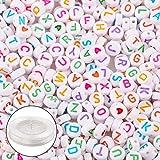Outuxed 1500 Stück 4 * 7mm Acryl Runde Buchstaben Perlen Alphabet Perlen mit 1 Rolle 50M Crystal...