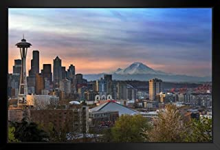 Seattle Sunrise with Mount Rainier Space Needle Photo Black Wood Framed Art Poster 20x14