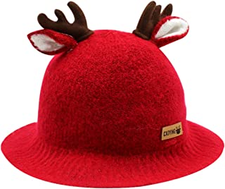 Bolley Joss Baby Toddlers Bucket Hat Cap Cute Reindeer Antlers Soft Felt Winter Hat with Brim Chin String