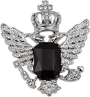 Corona Modello d'Epoca Aquila Spilla Pin Collare per Gli Uomini Argento E Nero