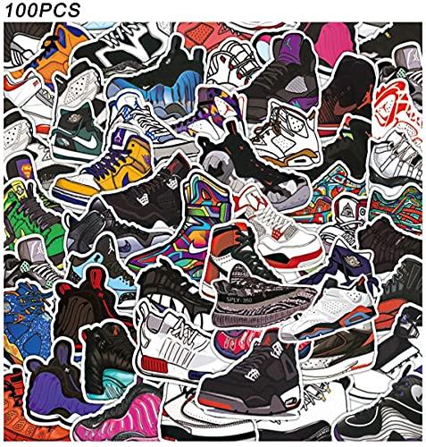 100pcs Pegatinas Stickers para Zapatos de Baloncesto para Air Jordan, Calcomanías de Zapatillas de Marca de Moda para Computadora Portátil, Patineta, Motocicleta, Guitarra, Gabla de Snowboard…