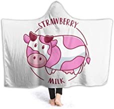 321DESIGN Strawberry Milk Cow Wearable Blanket Fleece Hooded Robe Cloak Throw Quilt Poncho Microfiber Sherpa Plush Warm Wr...