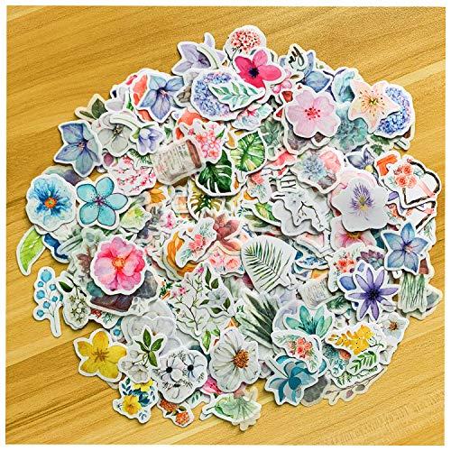 NEITWAY 440 Stück Wald Tier Pflanze Blumen Serie Abziehbilder für DIY Dekoration Aufkleber für Laptop-Planer Sammelalbum Koffer Tagebuch Notizbücher -10 Verschiedene Arten von Blumen