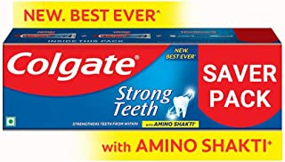 Colgate Strong Teeth Anticavity Toothpaste with Amino Shakti - 300gm (With Free Toothbrush)