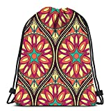 Yuanmeiju Unisex Bolsos con cordón,Teens Sack Drawstring,Traveling String Backpack,Sports Mochila con cordón,Mon-Ster Party Card Design Flat School Backpack