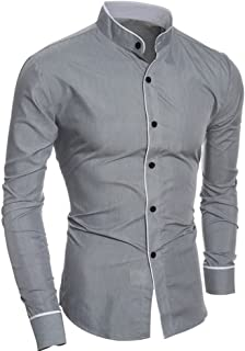 OULSEN Men's Fashion Business Shirt Long Sleeve Stand Collar Button Office Shirt Black White Formal Blouse Solid Color Sli...