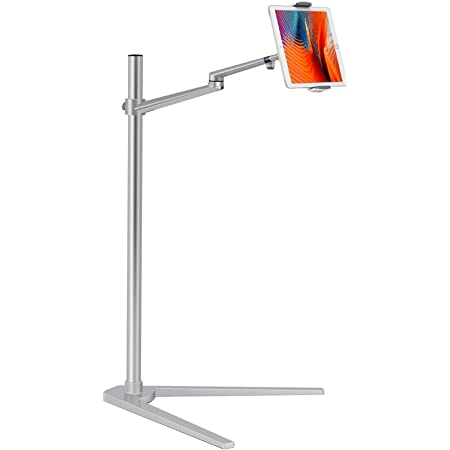"""Viozon Tablet Floor Stand,Cell Phone Holder Mount,Height&Angle Adjustable,Compatible with 4.5-13"""" Devices, iPhone 12, iPad Air/Pro/Mini,Galaxy Tab, Aluminum Alloy,V Base,Bedside,Kitchen,Couch(Silver)"""