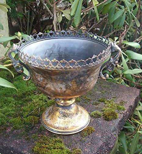 Übertopf Amphore Pflanztopf Vase Pokal Kelch Eisen Antik-Look gold