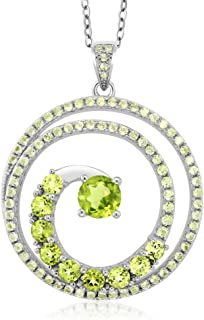 60.00 Cttw 925 Sterling Silver Peridot Gemstone Birthstone Twister Spiral Circle Pendant Necklace with 18 Inch Silver Chain