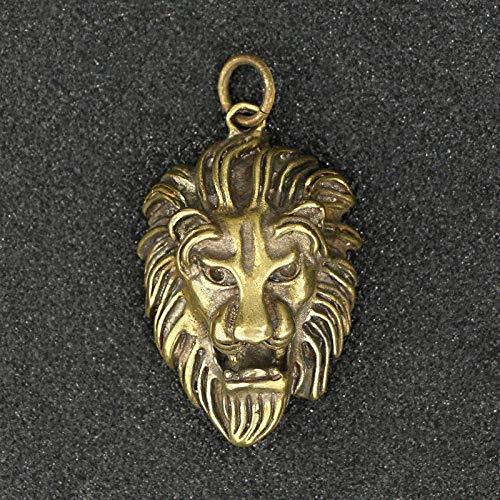 ZWWZ Messing Punk Rock Lion Head Schlüsselanhänger Anhänger Schmuck Handgemachte Vintage Kupfer Tier Schlüsselanhänger Anhänger Mode...