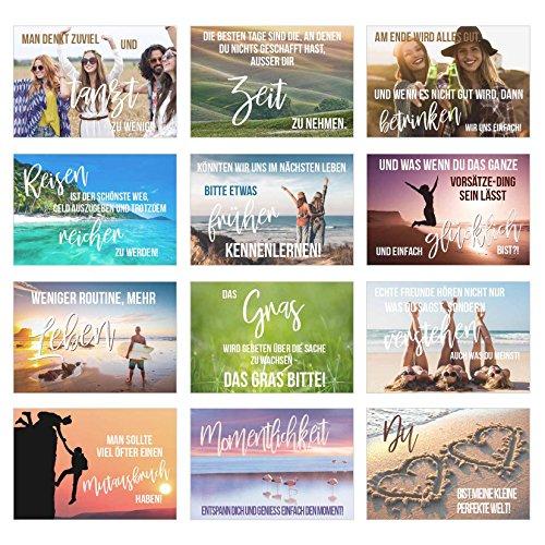 Set 12 Postkarten mit Sprüchen - Karten mit Spruch - Geschenkidee - Dekoidee - Liebe, Freundschaft, Leben, Motivation, lustig – Postcrossing - Geburtstagskarten
