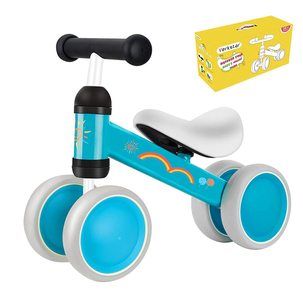 Verkstar Baby Balance Bikes Toddler Bike 10-24 Months No Pedal Bicycles Tricycles Infant Walker Non-Slip Bikes for Boys Girls Birthday (Light Blue 2)