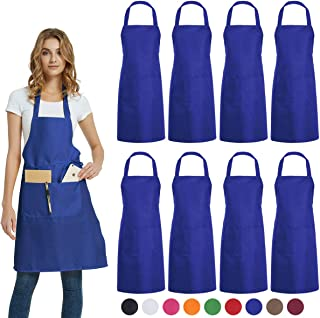 DUSKCOVE 8 Pack Bib Aprons Bulk - Unisex Blue Commercial Apron with 2 Pockets for Kitchen Crafting BBQ Drawing Cooking
