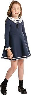 SMILING PINKER Toddler Girls Dresses Sweater Long Sleeve Winter Knitted Skater Dress Ruffle Collar