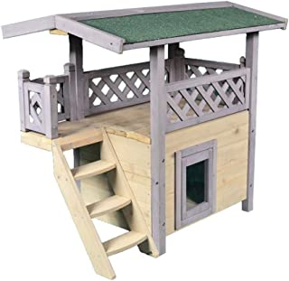 Cages Double-layer Outdoor Pet House Warm Cat Cage Teddy Small And Medium Dog House Waterproof Rabbit Villa Load-bearing U...