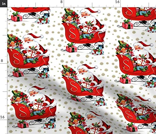Spoonflower Fabric - Christmas Santa Claus Snowflakes Winter Sleigh Presents Toys Vintage Printed on Petal Signature Cotton Fabric by The Yard - Sewing Quilting Apparel Crafts Decor