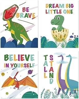 IHopes+ Dinosaur Nursery Wall Decor Art Prints   Inspiring Motivational Quote Wall Art Poster   Perfect for Kid Bedroom Baby Nursery Decor   Set of Four 8x10 Unframed