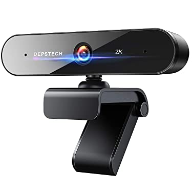 Upgraded 2K Webcam with Dual Microphone, DEPSTECH QHD USB Web Camera with Auto Light Correction, Desktop or Laptop Computer Streaming Camera for Video Conferencing, Teaching, Streaming, and Gaming