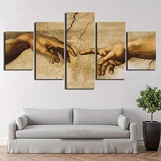 HIMFL Lona Imágenes Modular Mural 5 Paneles Creación de Adán Mano de Dios Resumen Pintura HD Print Decoración Sala