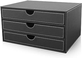 LIUYULONG Armoire de rangement à 3 tiroirs en cuir multifonction pour bureau