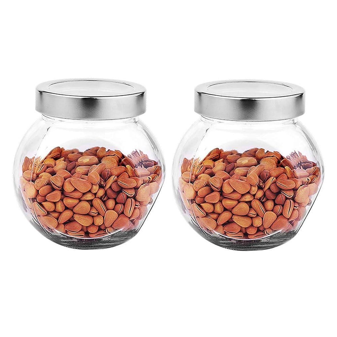 嵐が丘仮定、想定。推測クレーター2つの透明ガラス貯蔵容器茶/季節密封缶の貯蔵ジャーパック(450 ml)