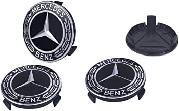 Gaocar Auto Parts 4Pack Mercedes Benz Wheel Center Hub Caps Emblem,75mm Rim Black hubcaps for Benz C ML CLS S GL SL E CLK CL GL Center Cap Badge (Black)