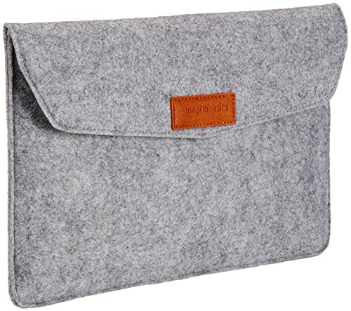 Amazon Basics - Funda de fieltro para portátil de 11 pulgadas, color gris claro
