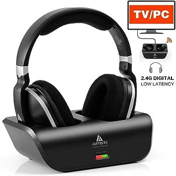 Kabellose Fernseher Funkkopfhörer 2.4GHz Übertragungsfrequenz Over Ear Digitales Kopfhörer mit Ladestation, 30 Meter Reichweite und 20 Stunden Akkukapazität Stereo Kopfhörer