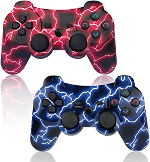 PS3 Controller 2 Pack Wireless 6-axis Dual Shock Gaming Controller for Sony Playstation 3 with Charging Cord