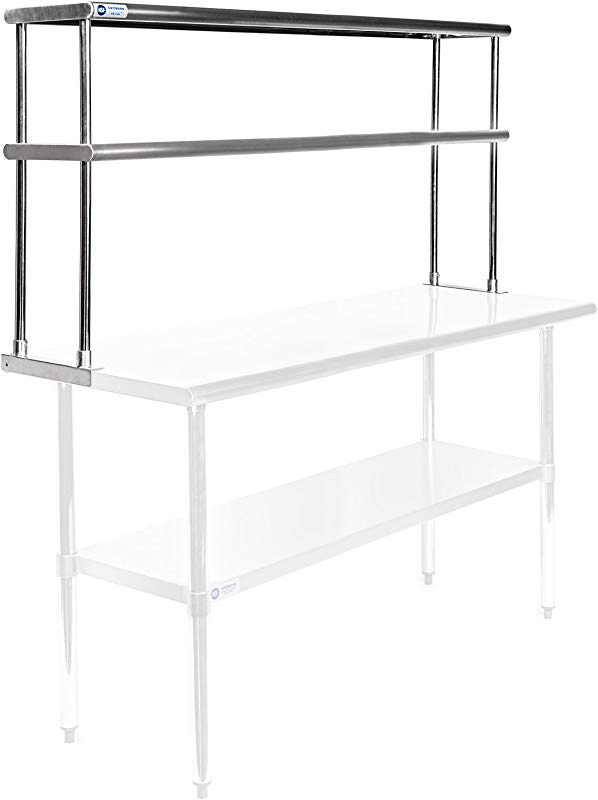 GRIDMANN NSF Stainless Steel Commercial 2 Tier Double Overshelf 60 In X 12 In For Kitchen Prep Work Table