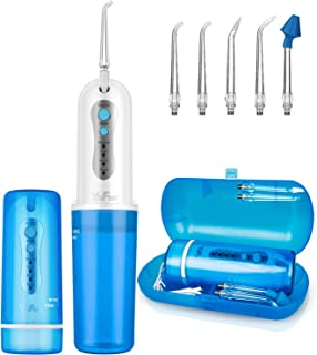 Portable Water Flosser, [2019 Upgraded] Cordless Oral Irrigator with 5 Jet Tips, Rechargeable Collapsible Dental Flosser Teeth Cleaner, 4 Modes, A Protective Travel Case for Home and Travel