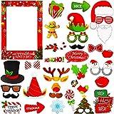 Marco de Cabina de Fotos de Navidad, Decoraciones de Accesorios para Selfies, Fotos de Navidad, Accesorios de Navidad Creativos e Interesantes, Barbas, Gafas, Lazos, Sombreros
