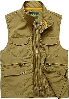 XXT Pocket Vest Polyester Fiber Men's Autumn and Winter Sports and Leisure Multi-Pocket Vest Practicality (Color : Khaki, Size : M)