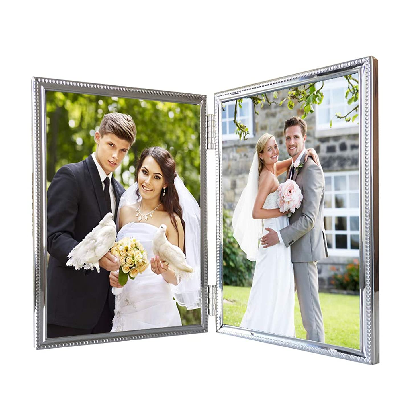 Double Picture Frames 4x6 Metal Hinged Photo Frame for 2 Photos Vertical Dual Openings Portrait Landscape Tabletop Decorative, Anniversary Gift for Wonan Friends Wedding Presents, 6 by 4 Inch Silver
