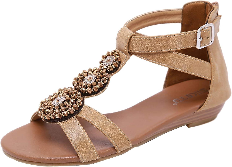 Insun Women's Bohemian Beaded Ankle Wrap Zipper Flat Beach Sandals