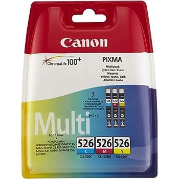 Canon CLI-526 Cartouche C/M/Y Multipack Cyan, Magenta, Jaune (Multipack plastique)